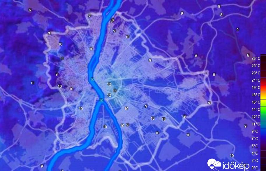 13. ábra. Budapest hőtérképe