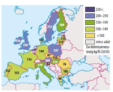 9. ábra. Évi élelmiszerveszteség Európában (2010)